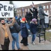 Protest rally held in Zussman Park over president's travel ban