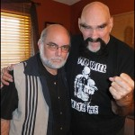 "Journalist and filmmaker Mark Nowotarski (left) poses with professional wrestler Ox Baker. Nowotarski has a new documentary on wrestling, called ""Battles, Bouts & Brawls,"" which is showing next Thursday (May 29) at the Maple Theater."