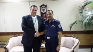 Hamtramck Police Chief Max Garbarino (left) meets with the Inspector General of the Bangladesh Police during his visit to Bangladesh.