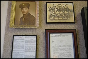 Some of the memorabilia included in a memorial display for Stanley Frontczak.