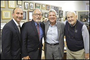 Hamtramck Judge Paul Paruk, Nick Frontczak, Jerry Dettloff and Buck Jerzy pose together at a gathering to honor Frontczak's father, Stanely, who died 25 years ago and served in World War II.