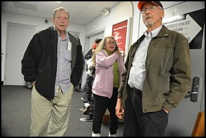 School Boardmember Alan Shulgon (left) waits for Tuesday's election results with his wife and fellow School Boardmember, Hedy (center), and City Councilmember Robert Zwolak. Shulgon lost his bid to remain on the board.