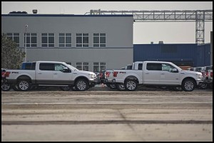 Hundreds of Ford F-150 pickup trucks mysteriously appeared on the former site of an American Axle plant.
