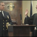 Hamtramck Police Chief Max Garbarino taking the oath of office with Hamtramck 31st District Court Judge Paul Paruk.