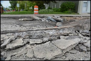 A rail line was exposed recently when Jos. Campau was dug up for a sewer line project.