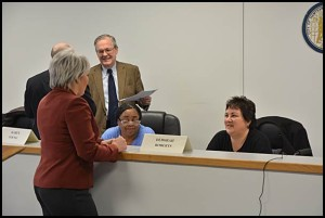The state-appointed Receivership Transition Advisory Board and state Treasury Department will likely extend the contract of City Manager Katrina Powell (left). Her contract with the city expires June 30.