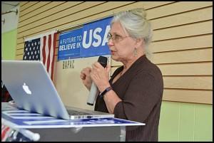 Mayor Karen Majewski speaks at a recent candidate forum. She is seeking her fourth term.