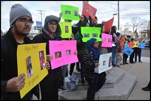 Hamtramck High School students participated in a national student walkout on Wednesday morning to memorialize those who were killed a month ago at a high school in Florida. They also called for the end of gun violence.