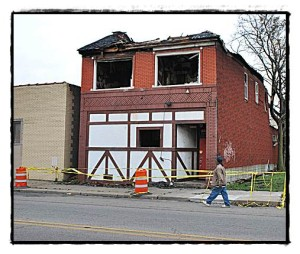 The former Hamtramck Pub on Caniff is now an empty lot.