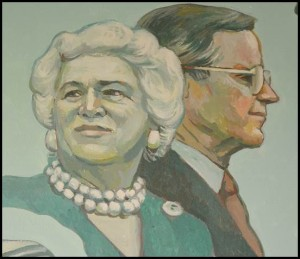 Local muralist Dennis Orlowski paid homage to former First Lady Barbara Bush in a mural at the Hamtramck Public Library. Bush died a couple of weeks ago.