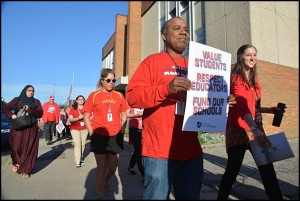 "Dickinson East Elementary School teachers joined teachers at other Hamtramck Public Schools in a ""walk-in"" on Wednesday morning. Teachers were protesting underfunding for schools throughout the state."