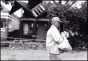 Many houses throughout the city were damaged by the storm.