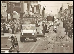 Pope John Paul II travels down Jos. Campau in his Popemobile. He visited Hamtramck 31 years ago, on Sept. 18, 1987.